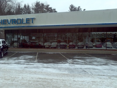 Before our installation of new Commercial Glass at Sun Chevrolet